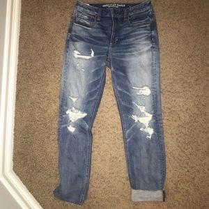 American Eagle Boyfriend Jeans Destroyed Dark Wash